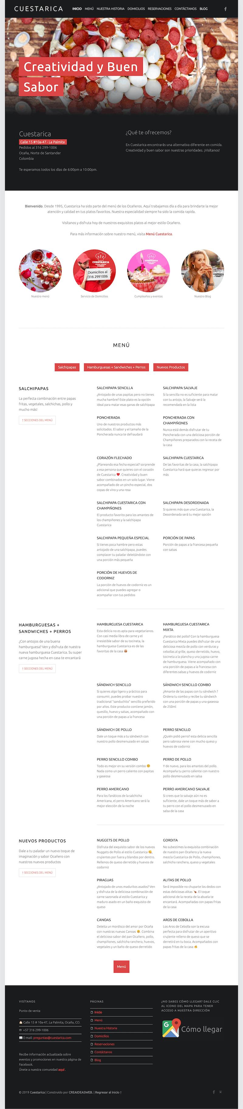 web design for restaurant portfolio