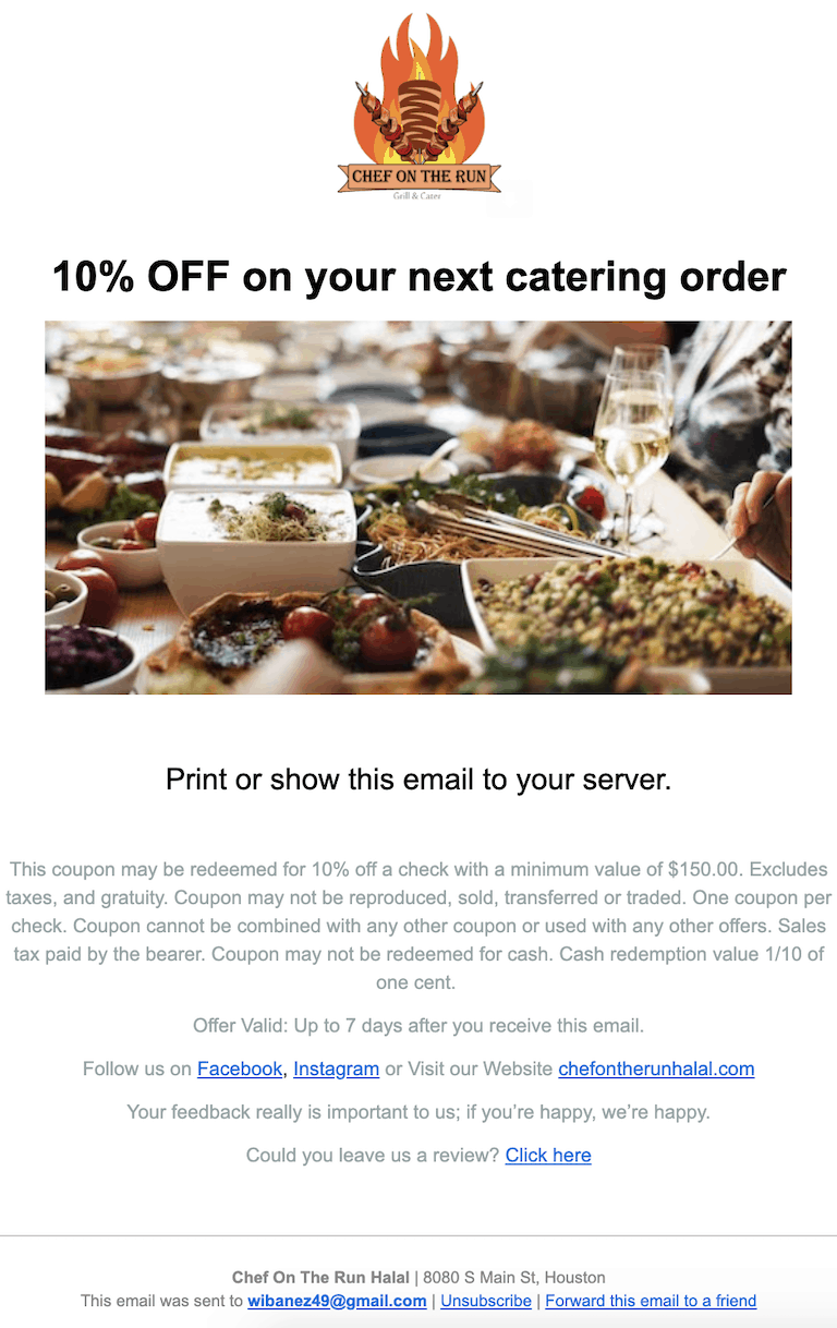 chef on the run email marketing houston