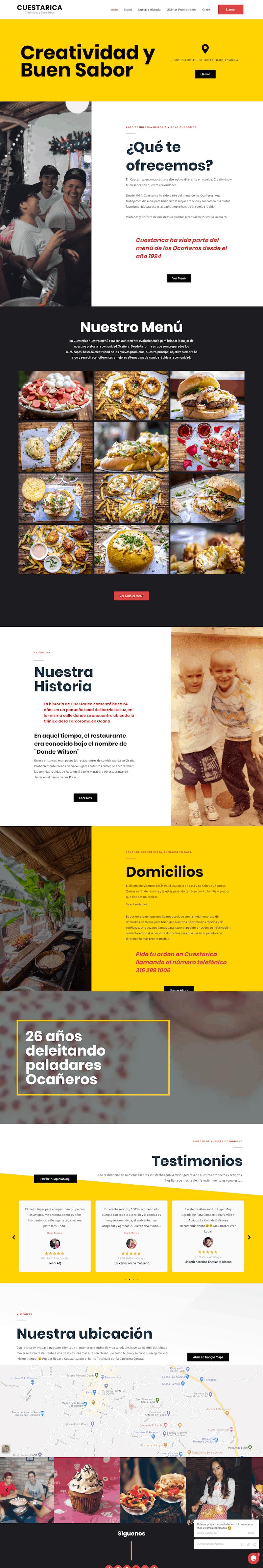 cuestarica new website restaurant web design development houston home page