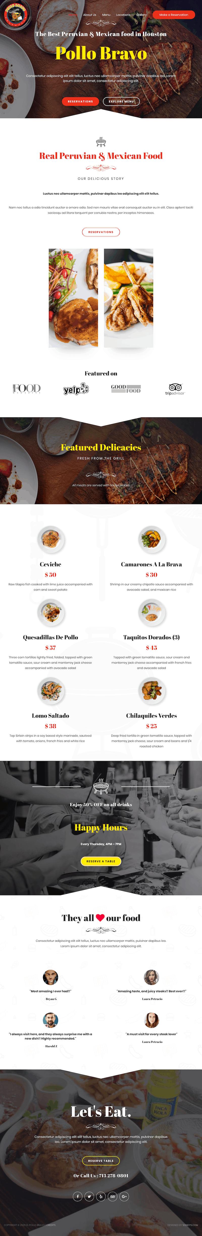 el pollo bravo restaurant web design development houston home page