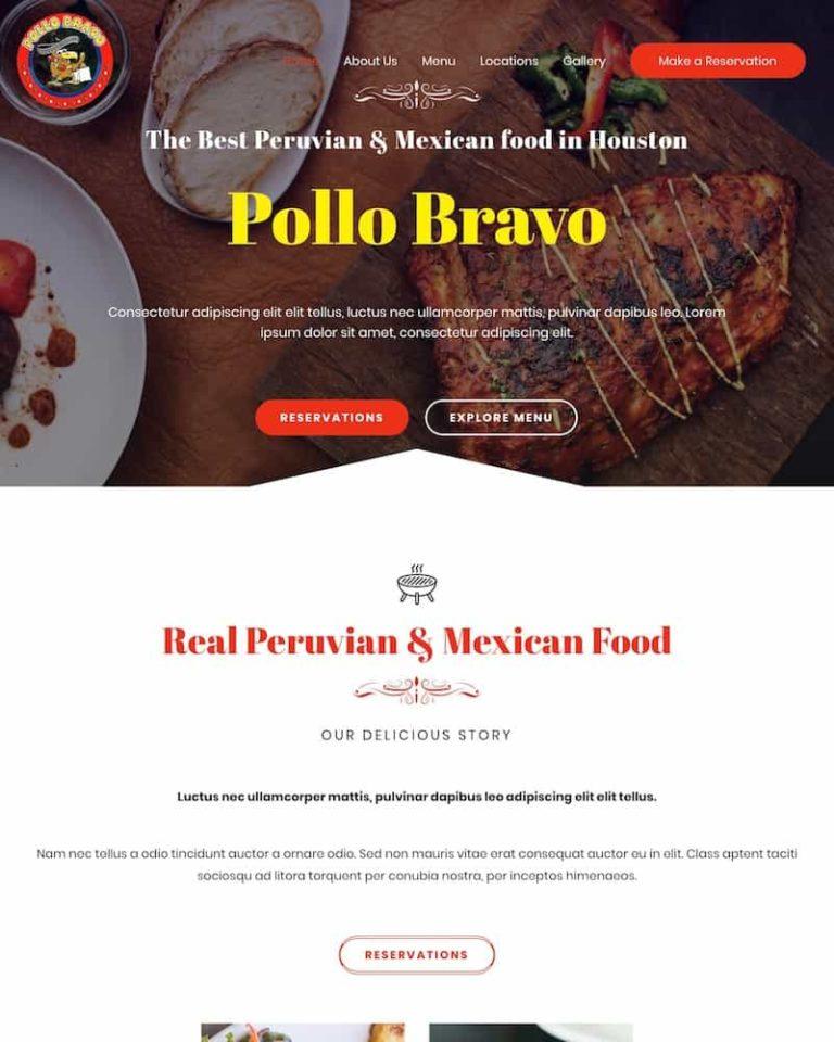 el pollo bravo restaurante web design development houston