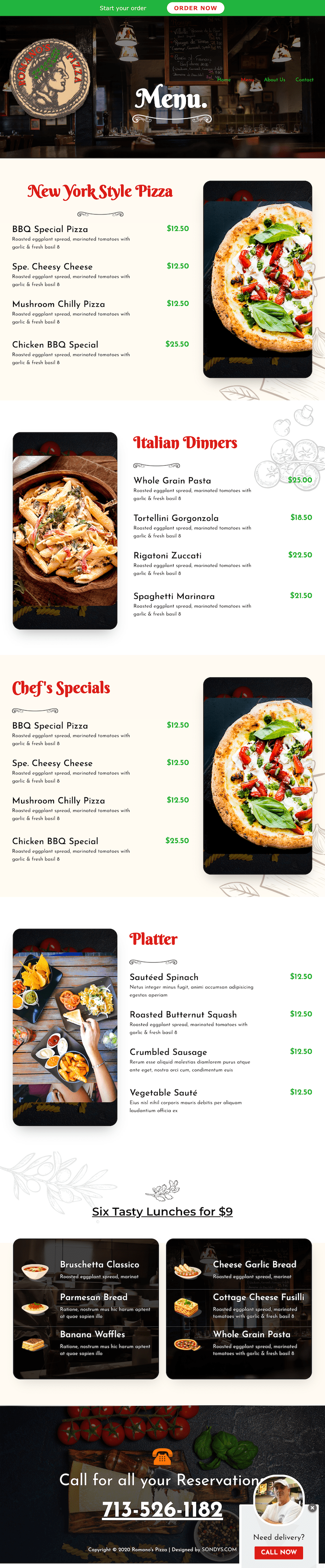 romanos pizza restaurant web design development houston menu page