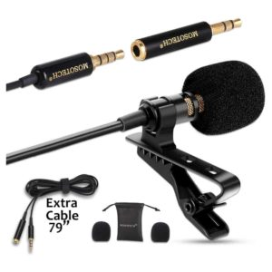 Lavalier Microphone Omnidirectional Condenser Lavalier MIC for Recording YouTube Interview